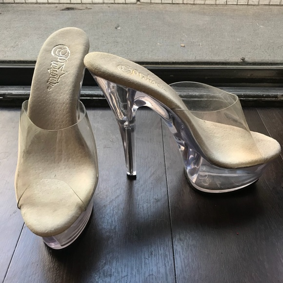 8bc86511b076 Pleaser Transparent Clear Cinderella Glass Heels. M 5b4016a22beb792d89e1c9ec
